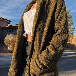 Olive Green Double Breasted Teddy Coat